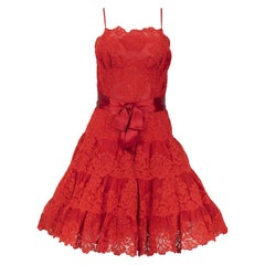 1990s Vicky Tiel Couture Red Lace Cocktail Dress
