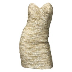 1990s Vicky Tiel Size 8 Gold + Ivory Lace Vintage 90s Strapless Mini Dress