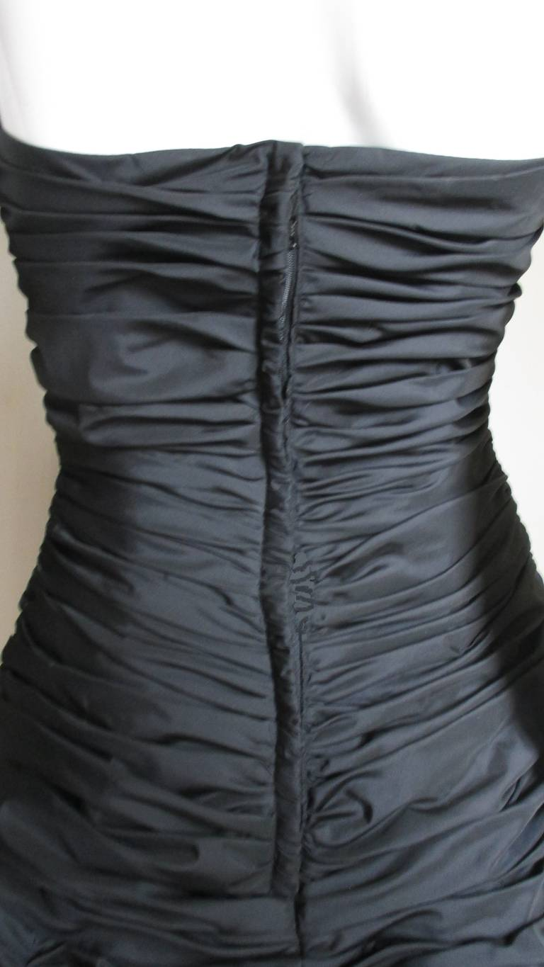 Victor Costa Ruched Bustier Dress 1980s For Sale 5