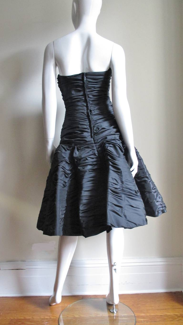 Victor Costa Ruched Bustier Dress 1980s For Sale 7