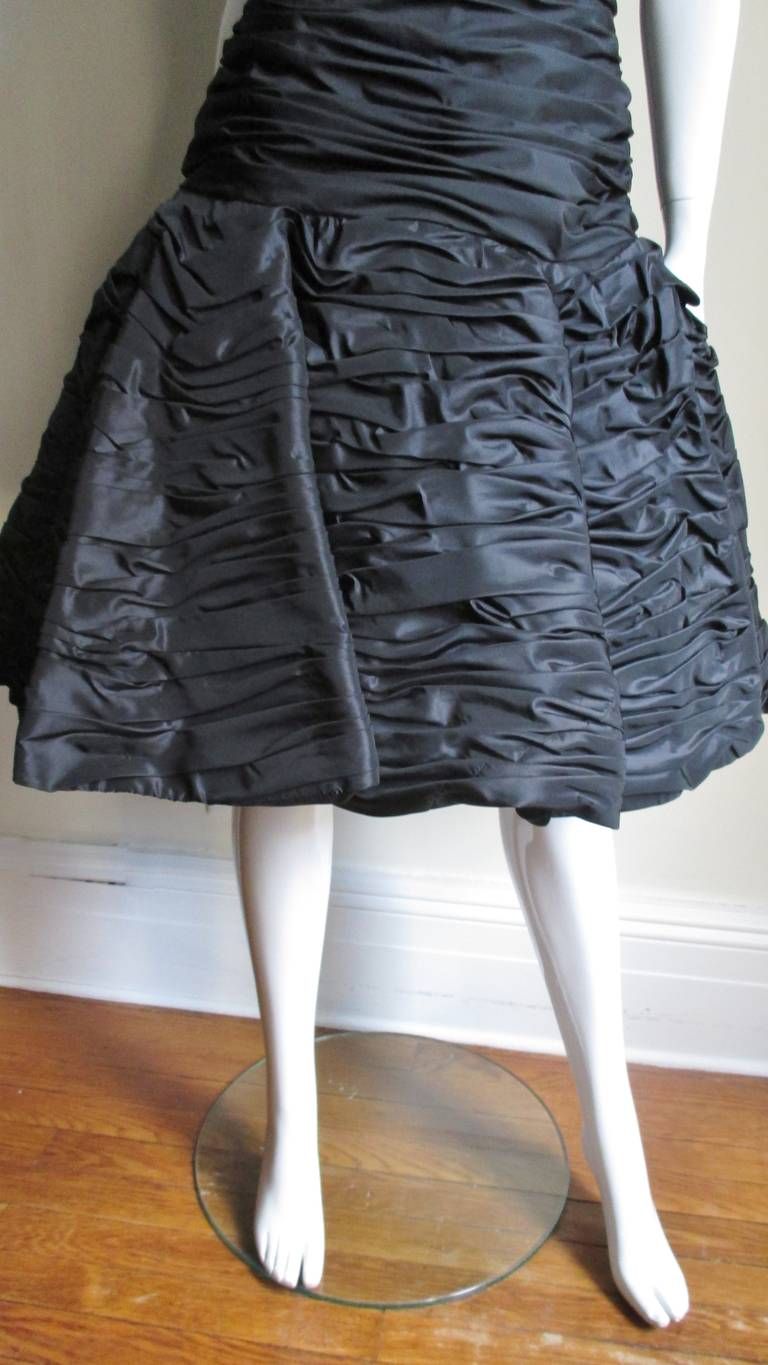 Women's Victor Costa Ruched Bustier Dress 1980s For Sale