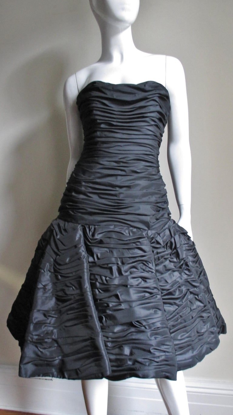 Victor Costa Ruched Bustier Dress 1980s For Sale 1