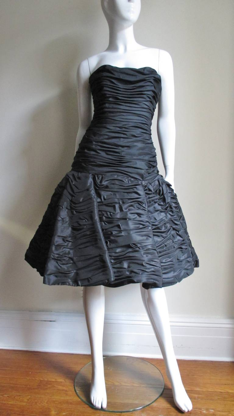 Victor Costa Ruched Bustier Dress 1980s For Sale 2