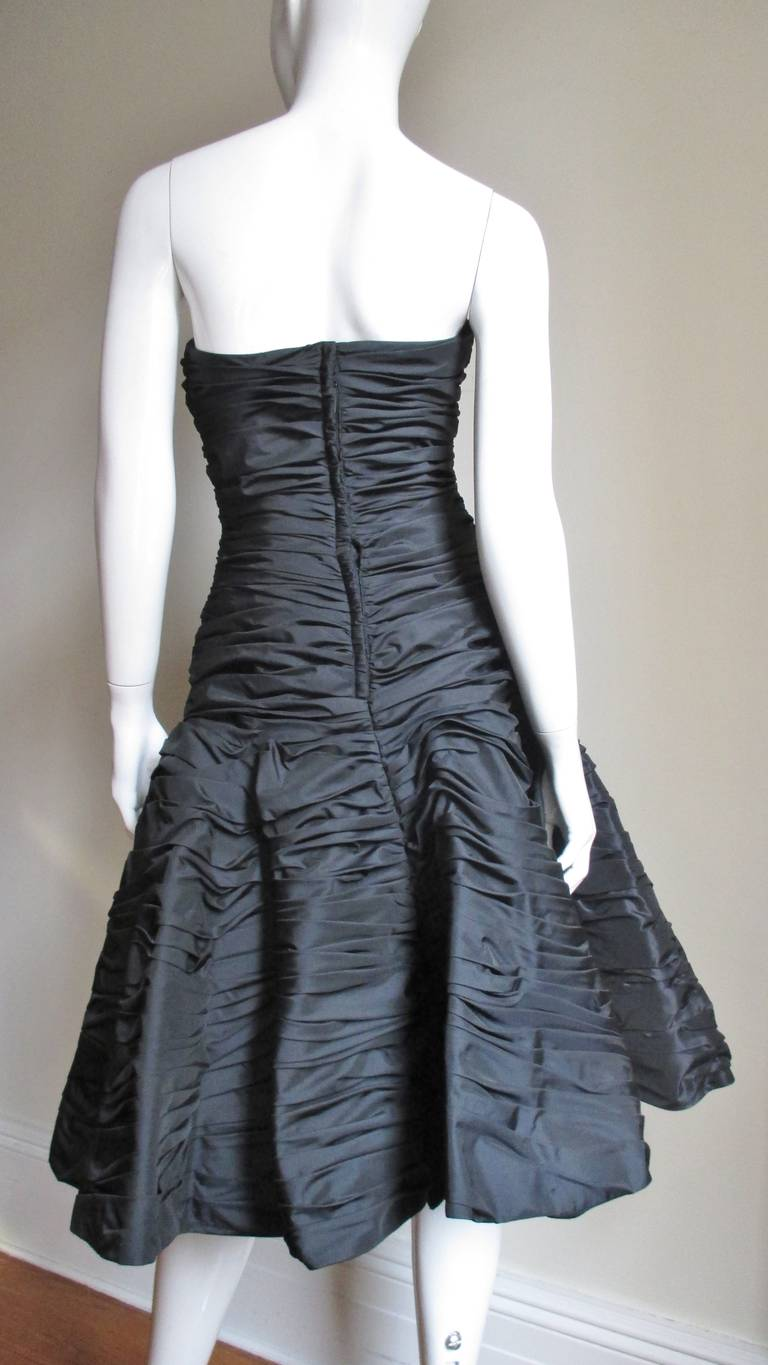 Victor Costa Ruched Bustier Dress 1980s For Sale 3
