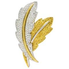 1990s Vintage 8.00 Carat Gold Diamond Platinum 18 Karat Gold Feather Brooch
