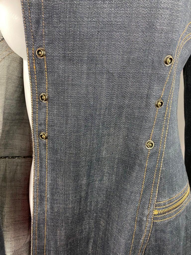 1990s Vintage Azzedine Alaia Denim Coat Jacket Size M For Sale 5