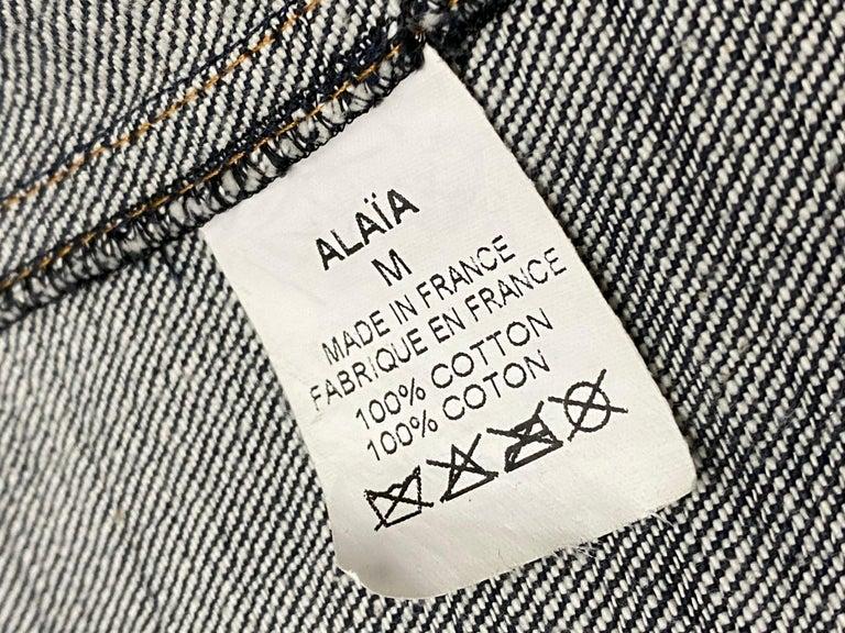 1990s Vintage Azzedine Alaia Denim Coat Jacket Size M For Sale 7