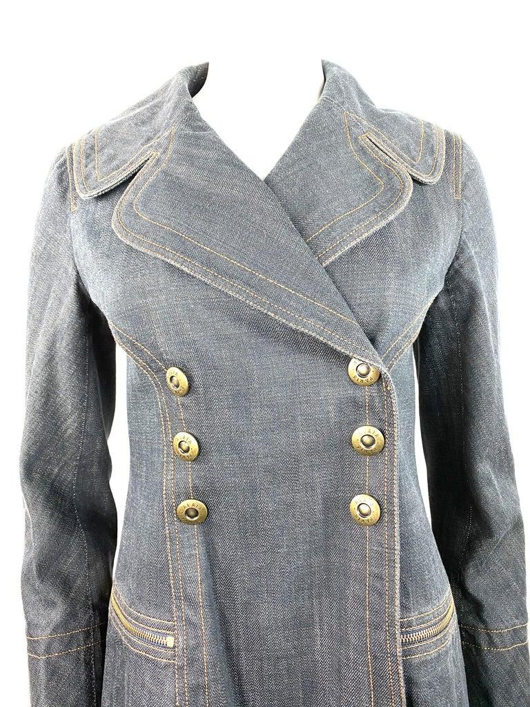 Gray 1990s Vintage Azzedine Alaia Denim Coat Jacket Size M For Sale