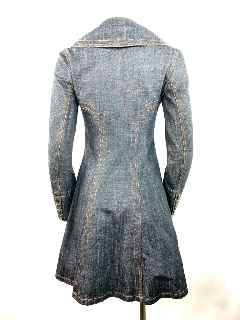 Women's or Men's 1990s Vintage Azzedine Alaia Denim Coat Jacket Size M For Sale
