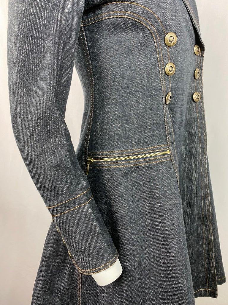1990s Vintage Azzedine Alaia Denim Coat Jacket Size M For Sale 3