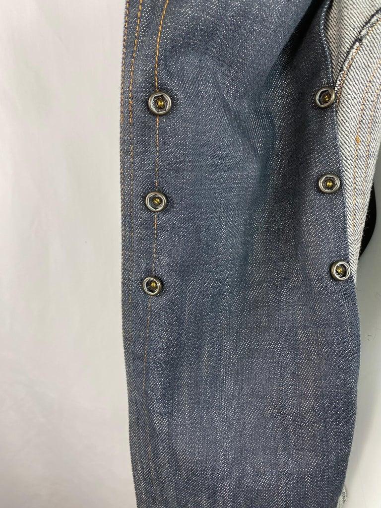 1990s Vintage Azzedine Alaia Denim Coat Jacket Size M For Sale 4