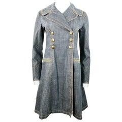 1990s Vintage Azzedine Alaia Denim Coat Jacket Size M
