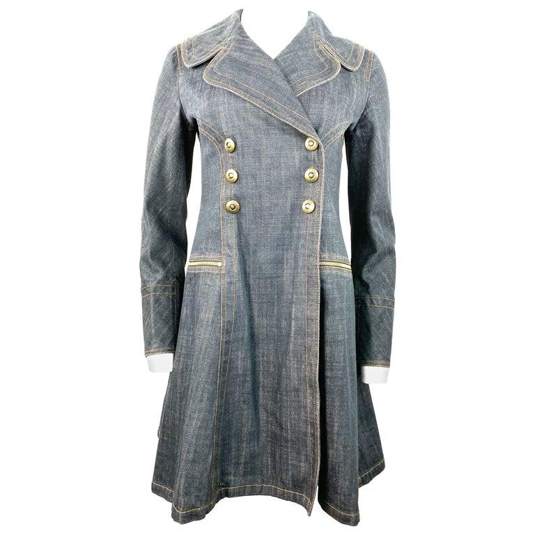 1990s Vintage Azzedine Alaia Denim Coat Jacket Size M For Sale