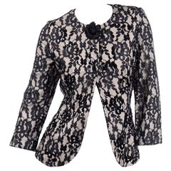 1990s Vintage Beaded & Sequin Bill Blass Black Lace Evening Jacket