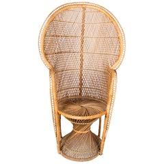 1990s Vintage Bohemian Emmanuelle Peacock Wicker Chair