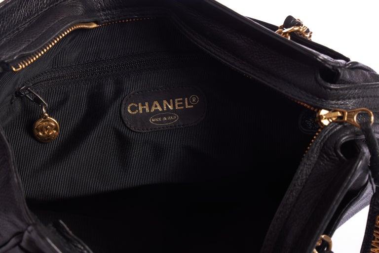 1990's Vintage Chanel Black Caviar Shoulder Tote For Sale 2