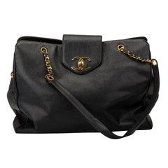 1990's Vintage Chanel Black Caviar Supermodel Weekender Travel Bag