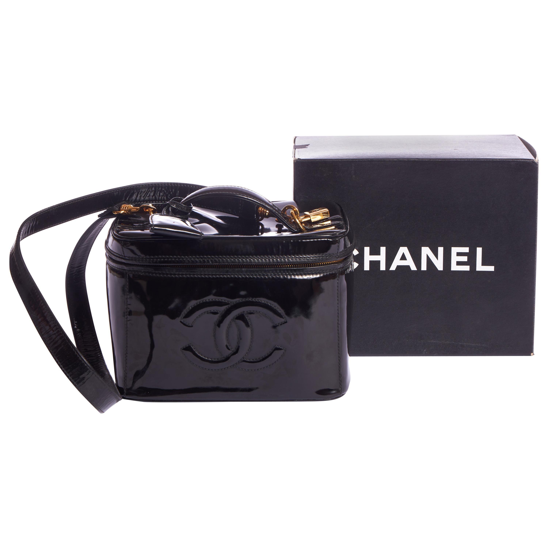 1990's Vintage Chanel  Black Patent Beauty Case
