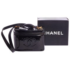 1990's Vintage Chanel  Black Patent Beauty Case