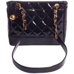 1990'S Vintage Chanel Black Patent Small Shoulder Bag