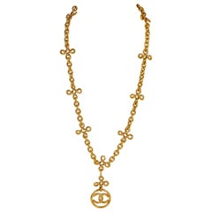 1990's Vintage Chanel Collectible Logo Long Necklace