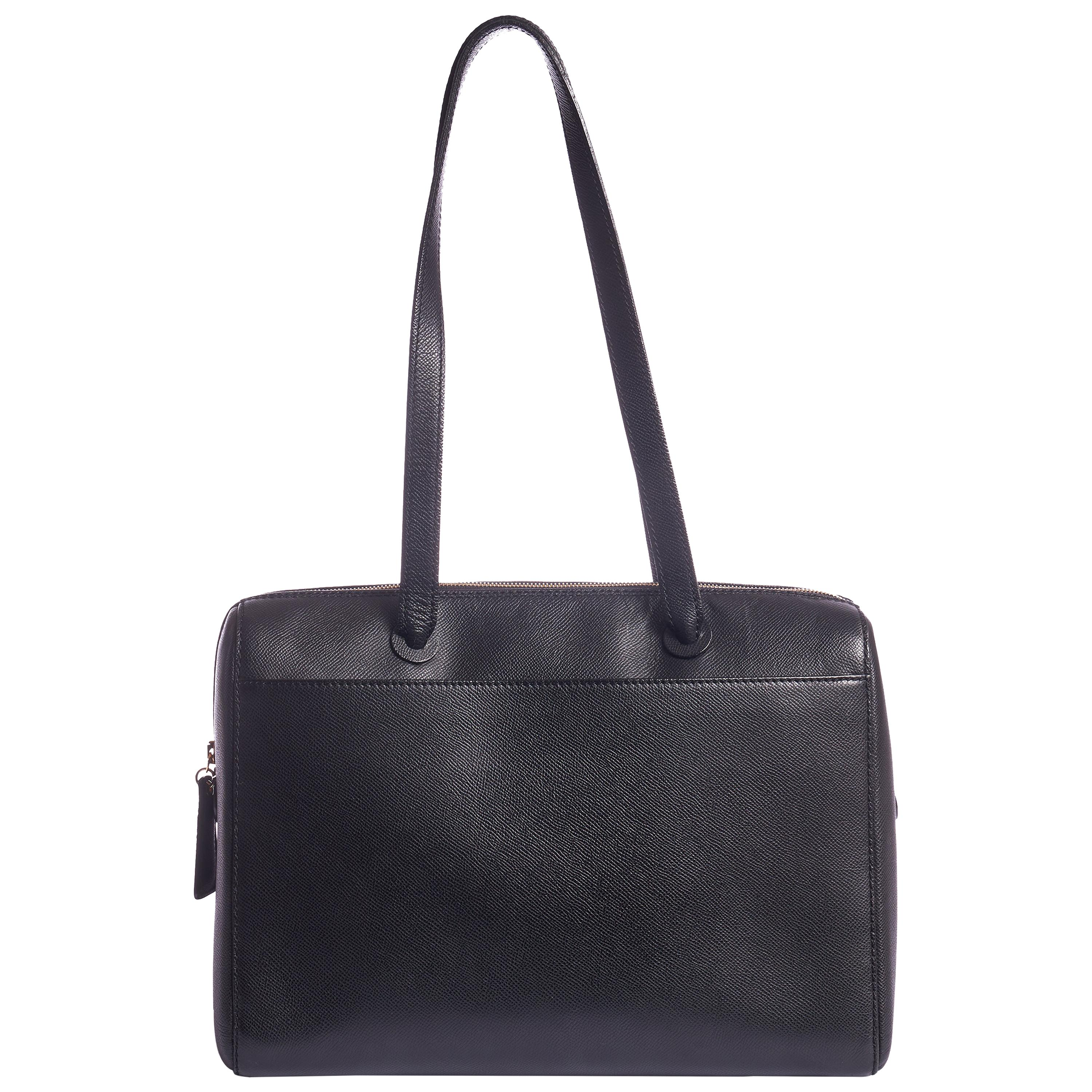 1990's Vintage Chanel Epsom Black Leather Zipped Tote