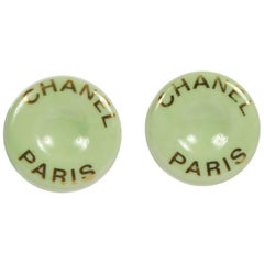 1990's Vintage  Chanel Mint Green Ceramic Clip Earrings