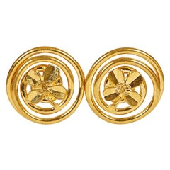 1990's Vintage Chanel Oversize Clover Logo Earrings