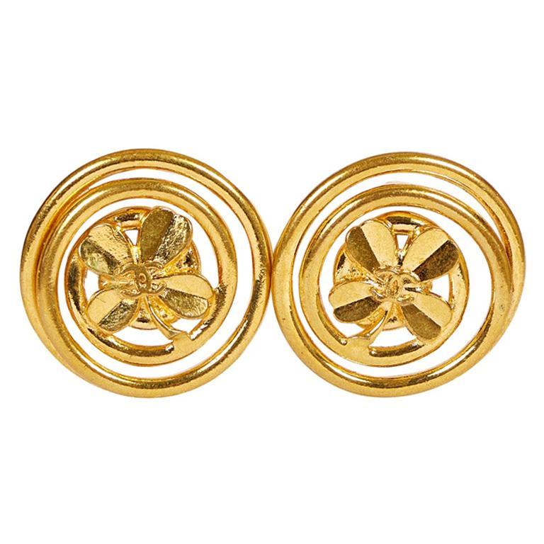 1990's Vintage Chanel Oversize Clover Logo Earrings For Sale
