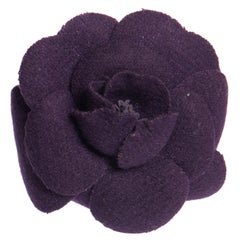 1990's Vintage Chanel Purple Felt Camellia Flower Pin