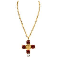 1990's Vintage Chanel Rare Gripoix Cross Necklace