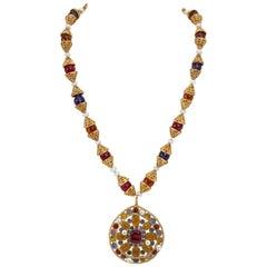 1990's Vintage Chanel Rare Gripoix Pendant Necklace