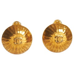 1990's Vintage Chanel Ribbed Dome Clip Earrings