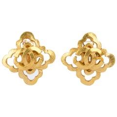 1990's Vintage Chanel Satin Gold Clover CC Logo Earrings