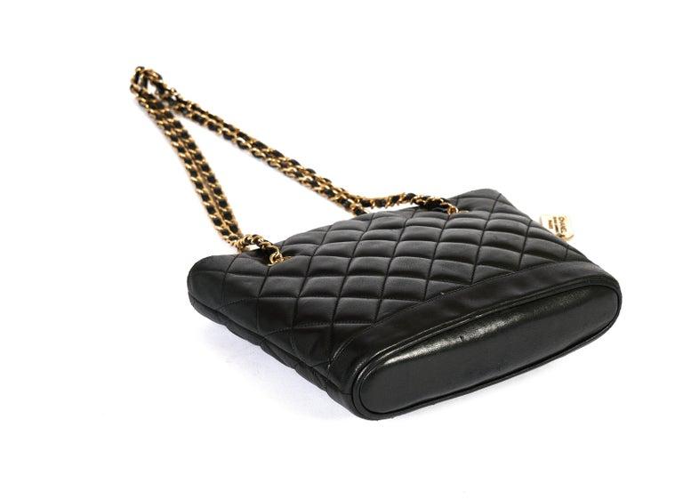 1990's Vintage Chanel Shoulder Bag Black Gold 1