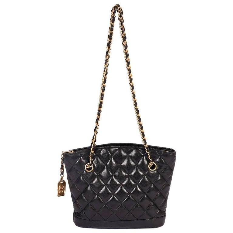 1990's Vintage Chanel Shoulder Bag Black Gold