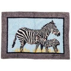 1990's Vintage Collectible Hermes Zebra Cotton Bathroom Rug