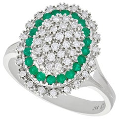 1990s Vintage Diamond and Emerald White Gold Cocktail Ring