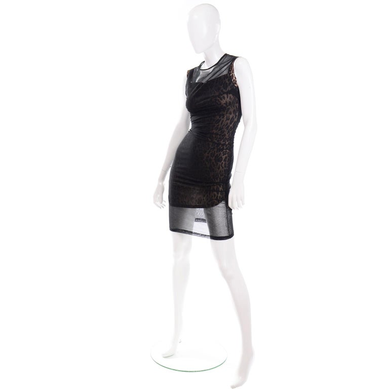 1990s Vintage Dolce & Gabbana Leopard Print Bodycon Dress W/ Sheer Black Overlay For Sale 1