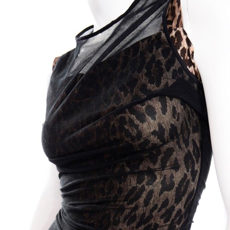 1990s Vintage Dolce & Gabbana Leopard Print Bodycon Dress W/ Sheer Black Overlay For Sale 4