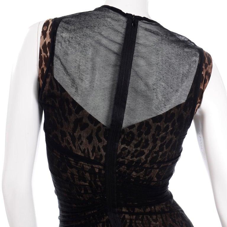 1990s Vintage Dolce & Gabbana Leopard Print Bodycon Dress W/ Sheer Black Overlay For Sale 5