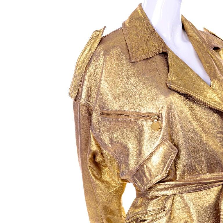 1990s Vintage Donna Karan Gold Leather Zip Front Jacket With Belt & Zippers For Sale 6