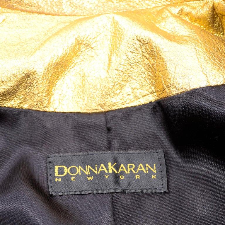 1990s Vintage Donna Karan Gold Leather Zip Front Jacket With Belt & Zippers For Sale 7