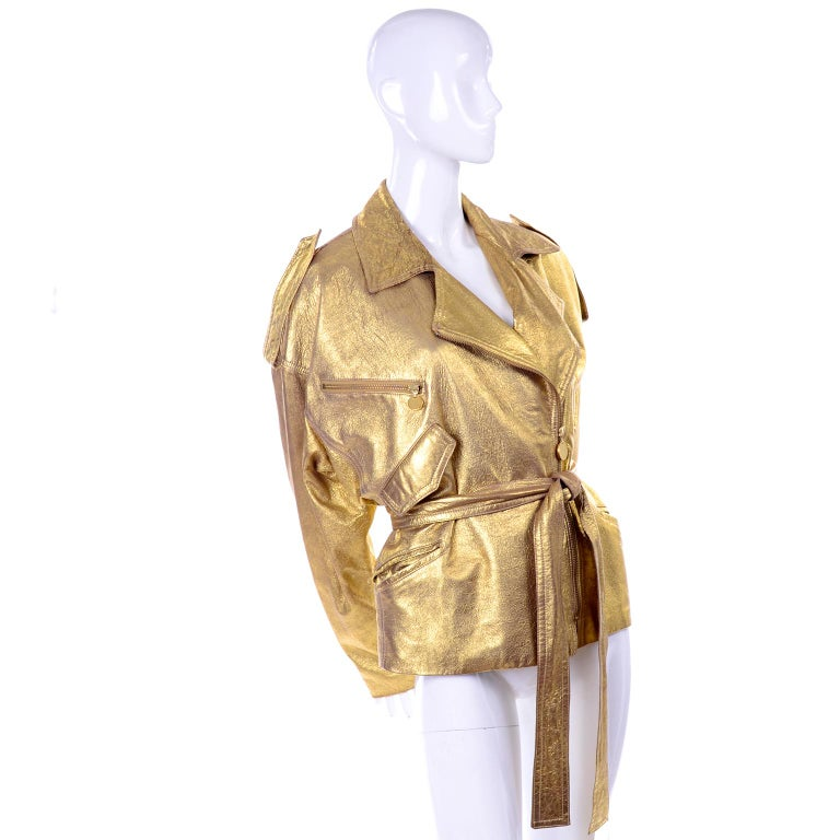 1990s Vintage Donna Karan Gold Leather Zip Front Jacket With Belt & Zippers In Excellent Condition For Sale In Portland, OR