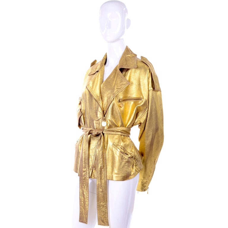 Women's 1990s Vintage Donna Karan Gold Leather Zip Front Jacket With Belt & Zippers For Sale
