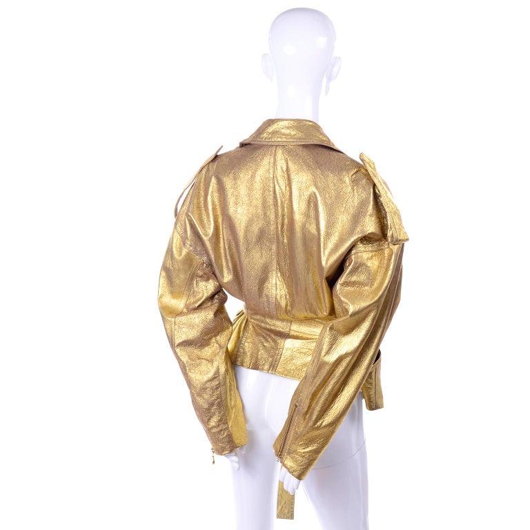 1990s Vintage Donna Karan Gold Leather Zip Front Jacket With Belt & Zippers For Sale 1