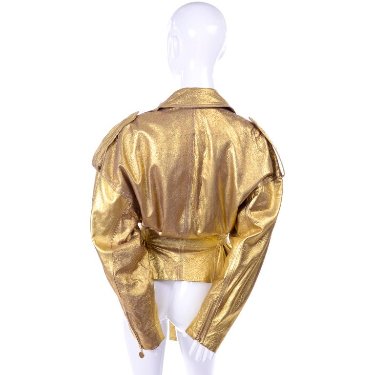 1990s Vintage Donna Karan Gold Leather Zip Front Jacket With Belt & Zippers For Sale 2