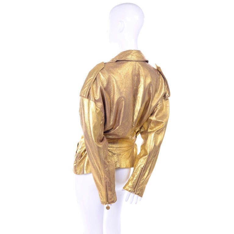 1990s Vintage Donna Karan Gold Leather Zip Front Jacket With Belt & Zippers For Sale 3
