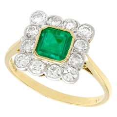 1990s Vintage Emerald and Diamond Yellow Gold Cocktail Ring