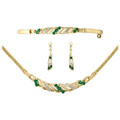 1990s Vintage Emerald and Diamond Yellow Gold Jewelry Suite